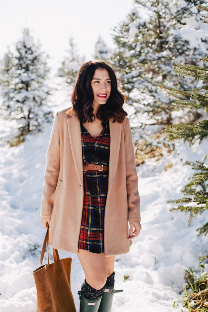 Plaid Dress with Hunter Boots for Christmas - byQuinn