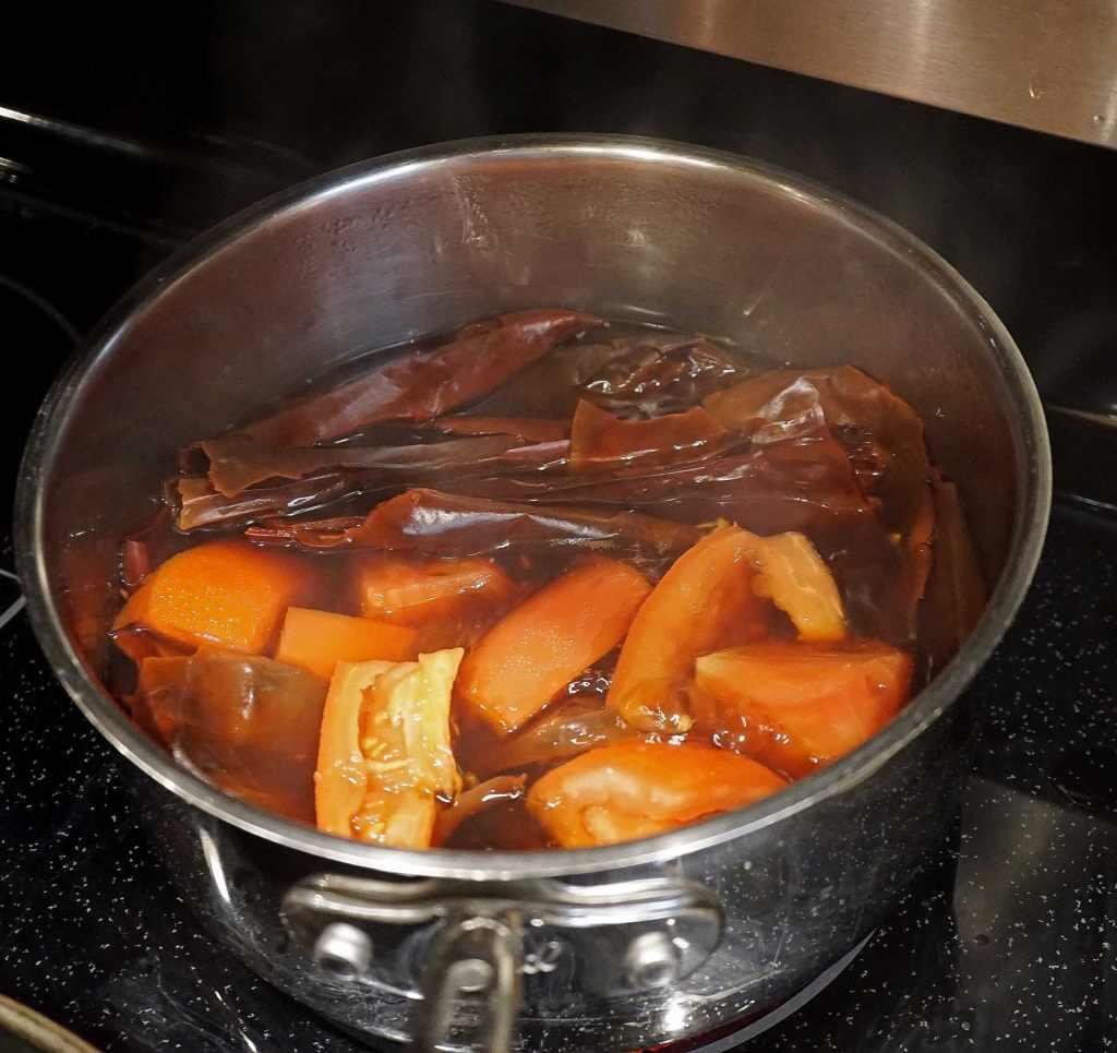 Enchilada Sauce Ingredients Cooking on stovetop