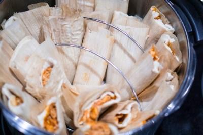 tamales in steamer