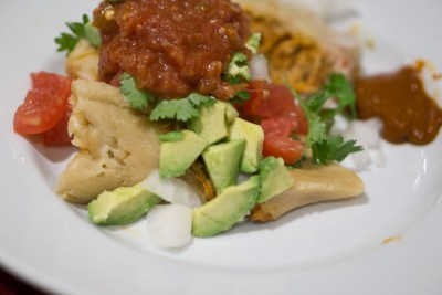 tamales with avocado and salsa