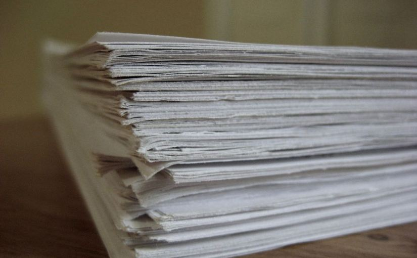 """A picture of a pile of papers from Nick Byrd's """"Grade papers quickly with shorthand"""" post"""