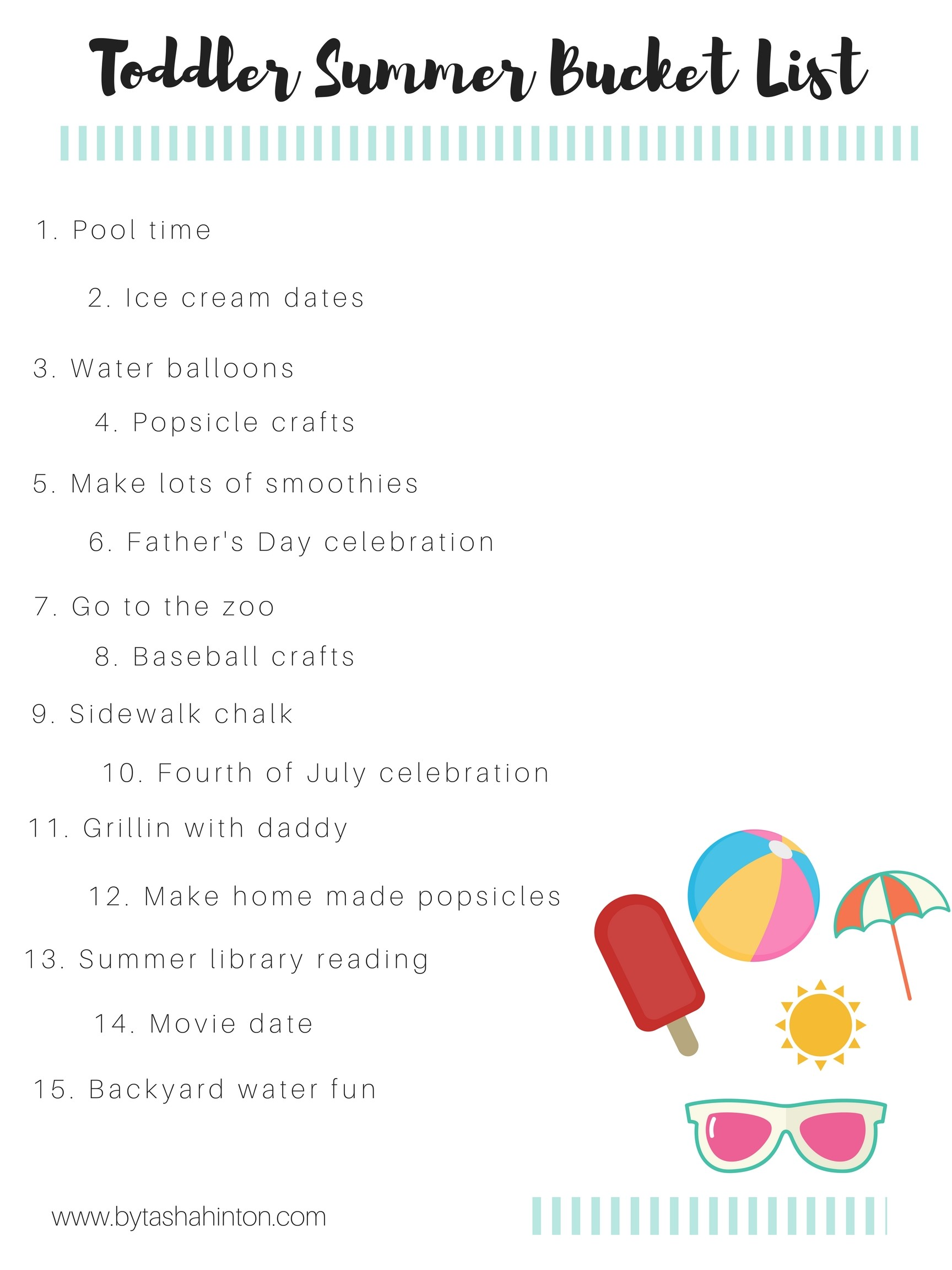 Our Toddler Summer Bucket List Amp Free Printable