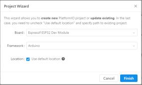 In diesem Beispiel wurde das Dev Board vom ESP32 von Espressif mit dem Framework Arduino genutzt