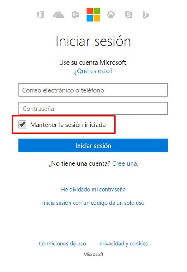 Iniciar sesión en Outlook.com sin contraseña b