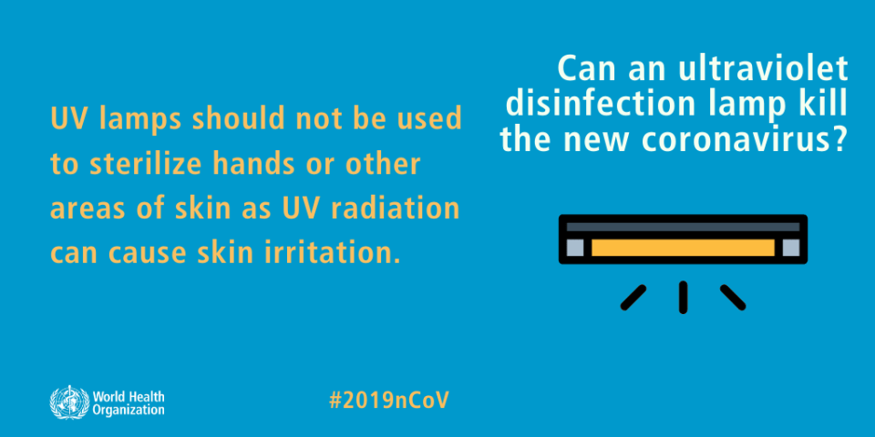 UV lamps should not be used to sterilize hands or other areas of skin as UV radiation can cause skin irritation.