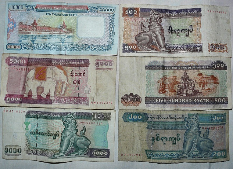 Pictures of Myanmar Kyat notes