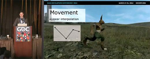 David Rosen demuestra en la GDC como utiliza la interpolación lineal entre 2 keyframes para realizar el movimiento de un personaje en el juego Overgrowth