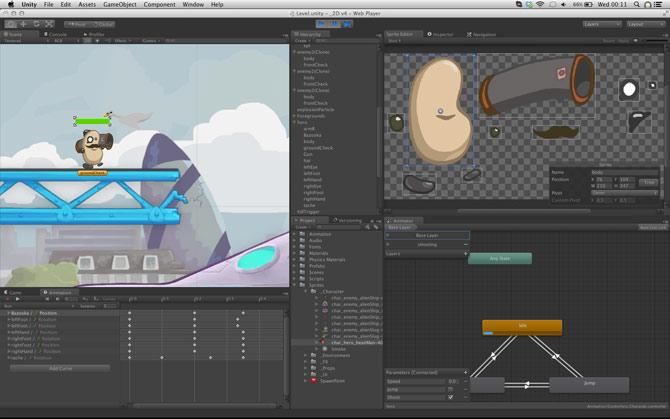 Interfaz de la herramienta de desarrollo de Unity 3D