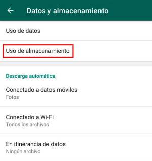 Ajustes almacenamiento Whatsapp
