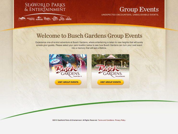 Busch Gardens Group Events Website