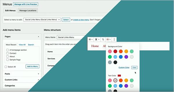Gutenberg's new menu customization blocks.