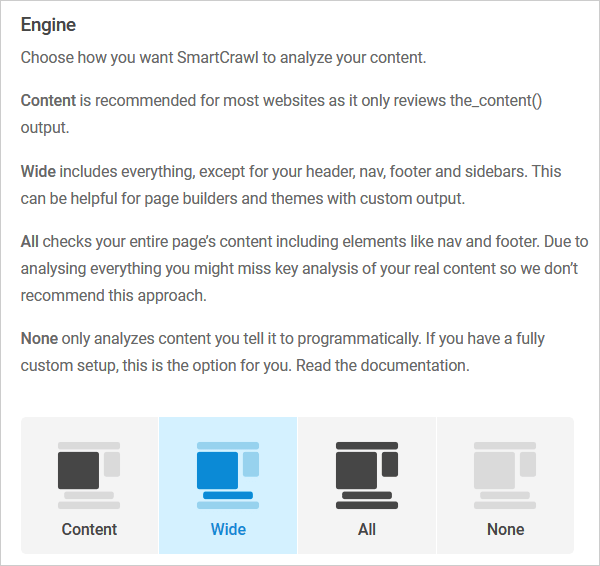 SmartCrawl SEO engine analysis options.