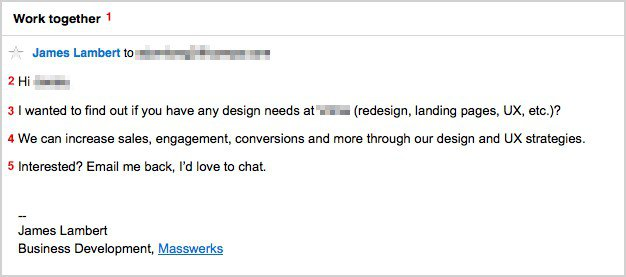 A simple and direct example of a cold email that works.