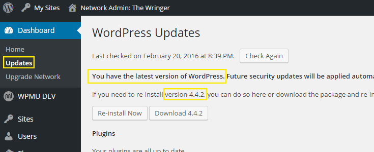 The Updates page with a message indicating WordPress is up-to-date.