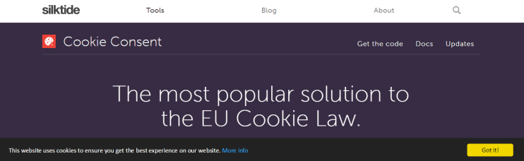screenshot of cookie consent notice at silktide
