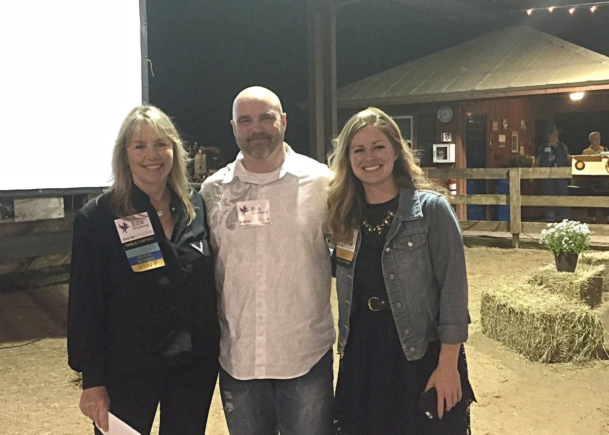 Rob Stainback of BytePlate Brand with Quantum Leap Farm's Edie Dopking and Sarah Page.
