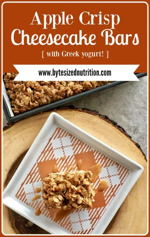 Apple Crisp Cheesecake Bars | The must-make dessert this holiday season! www.bytesizednutrition.com