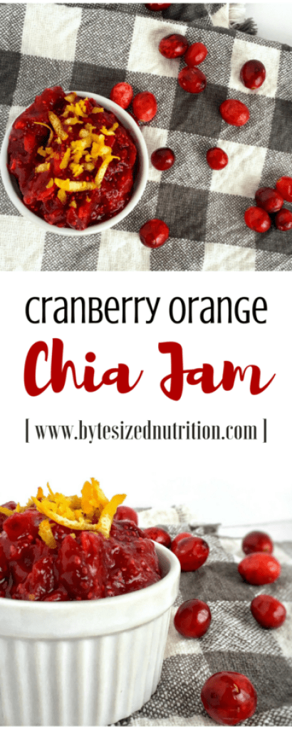 Cranberry Orange Chia Jam comes together in minutes and is a healthy, wholesome and low-sugar alternative to store-bought jams and jellies! | www.bytesizednutrition.com