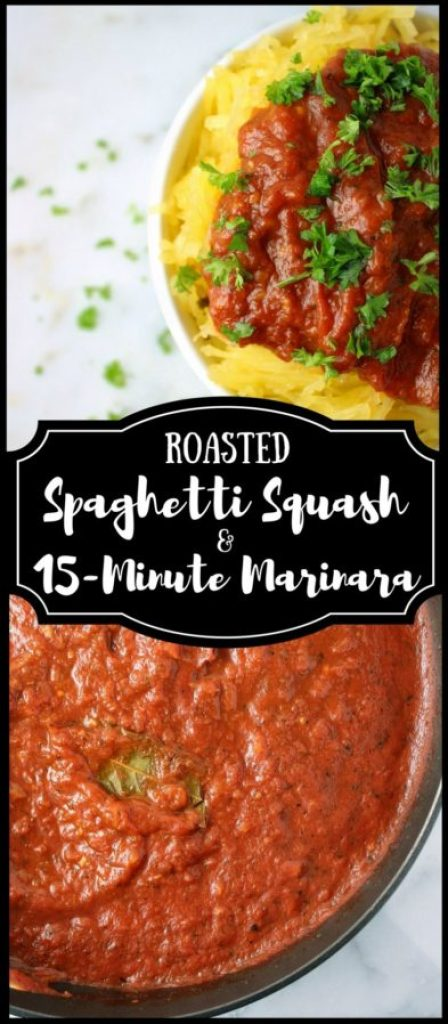 Roasted Spaghetti Squash with 15-Minute Marinara is a simple, plant-based alternative to traditional pasta dishes! With only a few simple ingredients and minimal prep work required, it's the perfect entrée or side dish for easy weeknight meals. | www.bytesizednutrition.com