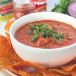Summer meets fall in this Blender Chipotle Pumpkin Salsa. A quick and easy appetizer that is bound to be a hit at your next tailgate! | www.bytesizednutrition.com