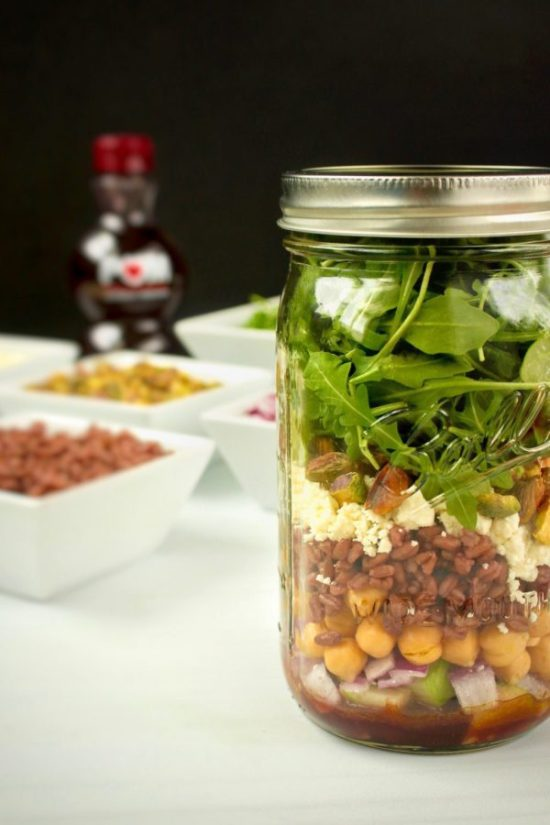 #ad Shake up your lunch time routine (literally!) with make-ahead Pomegranate Farro Mason Jar Salads. A quick, easy, and portable salad that will stay fresh in your fridge all week long! | www.bytesizednutrition.com