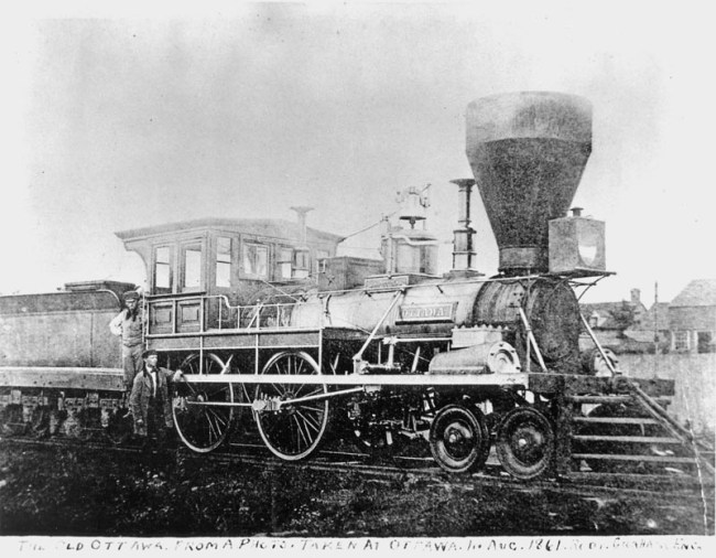 "The ""Ottawa"" locomotive, shown here ca. 1861 in the city's first known railway photograph. Source: http://churcher.crcml.org/Articles/Article2008_01.html"