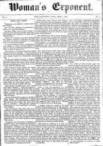 The masthead of the first issue of the Woman's Exponent (June 1, 1872).