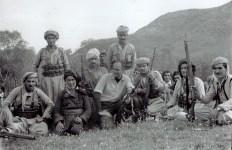 [kneeling in a line] With Kurdish pesh mergas, Iraq, 1965