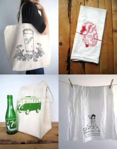 Love this - Screen printed textile by 'Oh, Little Rabbit'