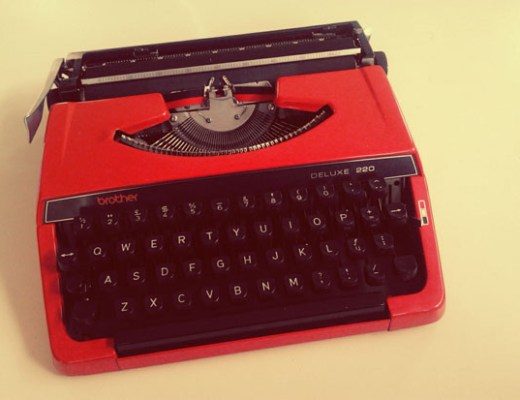 Red vintage typewriter