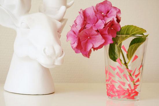 DIY - Washi tape drinking glasses, vase, candle holder