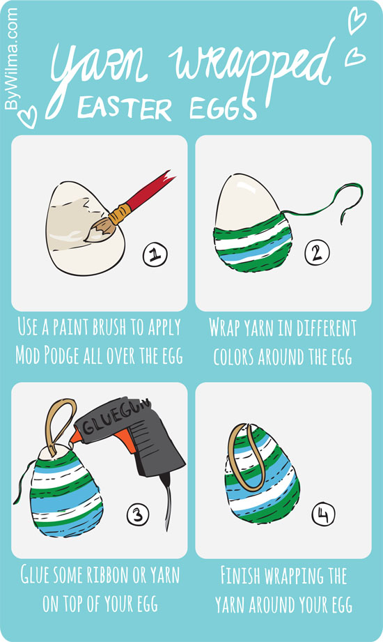 DIY - Yarn wrapped easter eggs tutorial