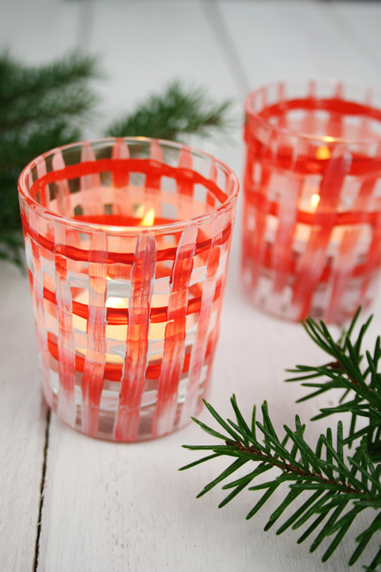 today i have a super fun diy project for you christmas tea lights with a plaid pattern the nice thing about this tea lights is that if you dont like the