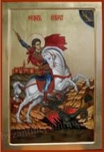 Sfantul Mucenic Gheorghe pe cal omorand balaurul,icoana pictata pe lemn