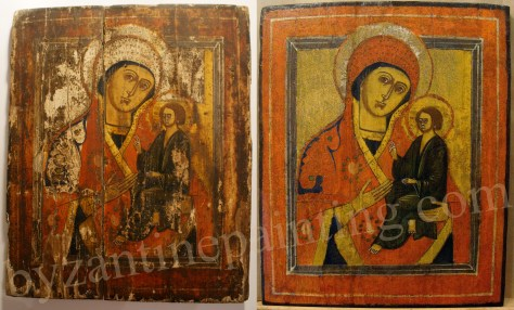 Conservation - restoration wooden painting Byzantine icon
