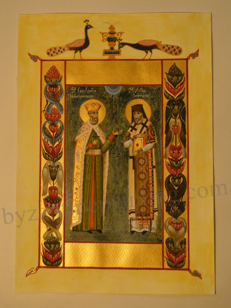 Miniature Saint Constantin Brancoveanu and Saint Anthim the Iberian (2)