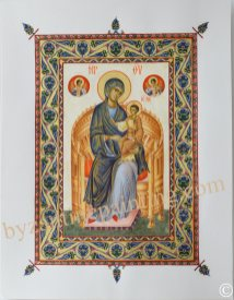 Religious miniature. The Mother of God Enthroned (1)