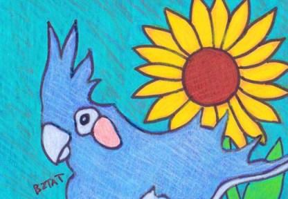 cockatiel bird custom contemporary pet portrait drawing by BZTAT