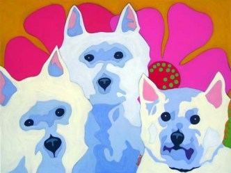 Contemporary pet portrait of 3 Westies
