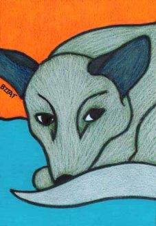 Blue healer dog drawing by animal artist BZTAT