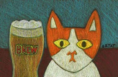 Brewskie Butt Brew cat drawing