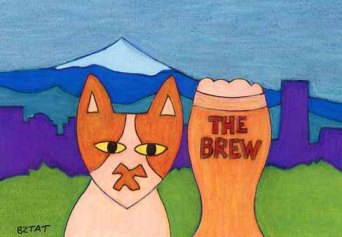 Brewskie-Butt-cat-drawing-Portland-OR