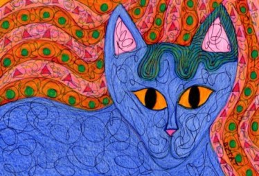 Okey-October-blue-cat-abstract-drawing