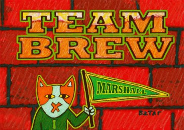 TEAM BREW Cat drawing Marshall University