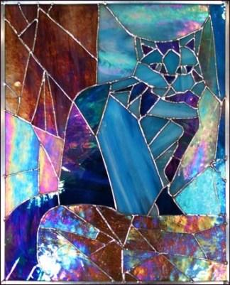 Custom stained glass pet portrait