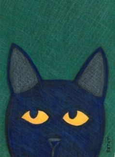Black feral cat drawing