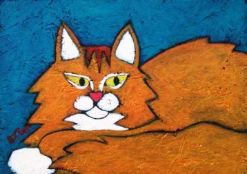 orange Maine Coon cat painting by BZTAT