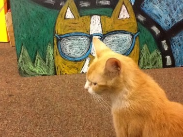 Buff cat in front of Brewskie Butt painting