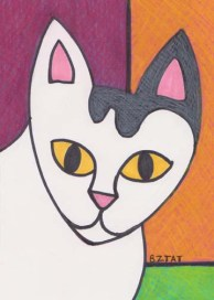 okey white cat drawing BZTAT
