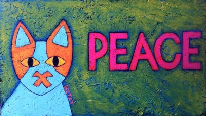 Brewskie Butt Hippie Peace Cat painting by BZTAT